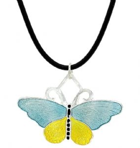 Blue & Yellow Enamel Butterfly Fashion Necklace - Children's Fashion Necklace